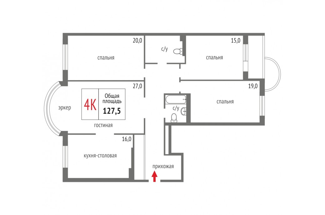 4 комнатная квартира, ул. Маршала Жукова, 13