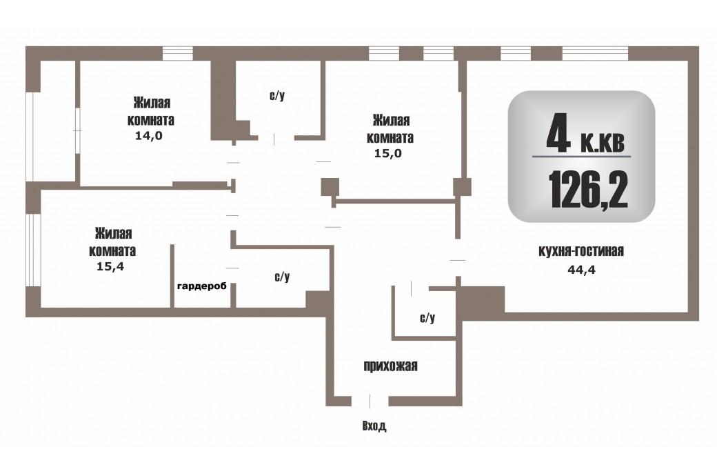 "4 комнатная квартира, ул. Ткачей 17 (ЖК "" Clever park"")"