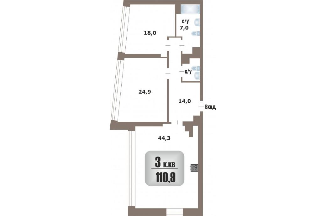 """3 комнатная квартира, ул. Татищева, 47а (ЖК """"Крыловъ"""")"""