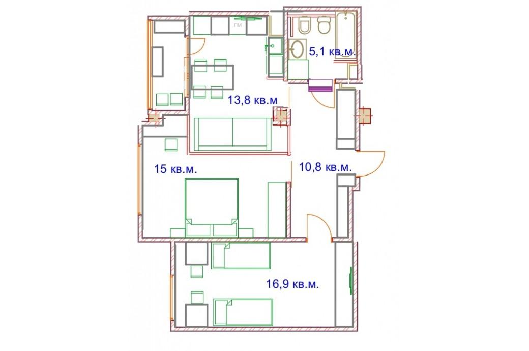 """2 комнатная квартира, ул. Хохрякова, 63 (ЖК """"Тринити"""")"""