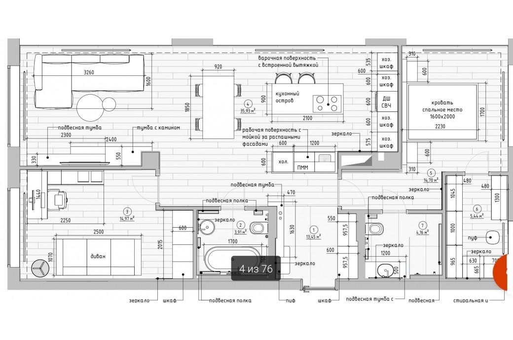 """3-4 комнатная квартира, ул. Первомайская, 60 (ЖК """"Первомайская 60"""")"""