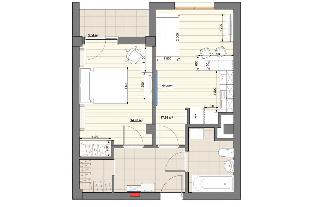 """1 комнатная квартира, ул.Татищева, 47а (ЖК """"Крыловъ"""")"""