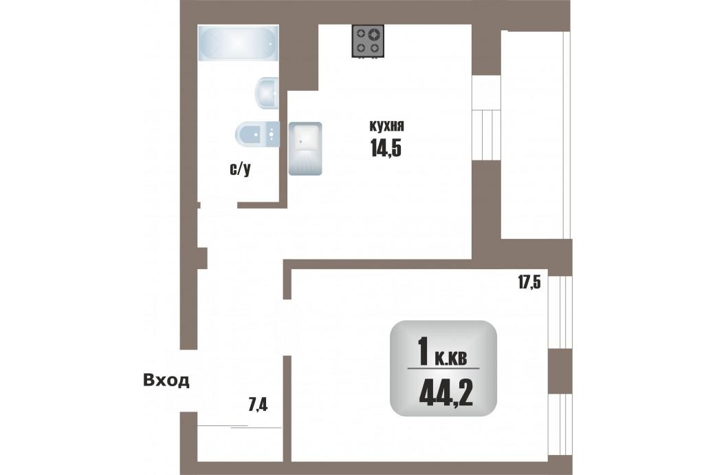 "1 комнатная квартира, ул.Мельникова, 27 (ЖК ""Крыловъ"")"
