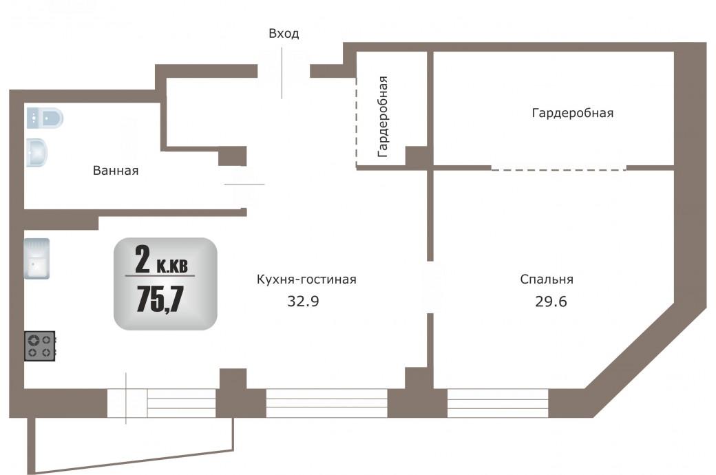 """2 комнатная квартира, ул. Рощинская, 41 (ЖК """"Тихий берег"""")"""