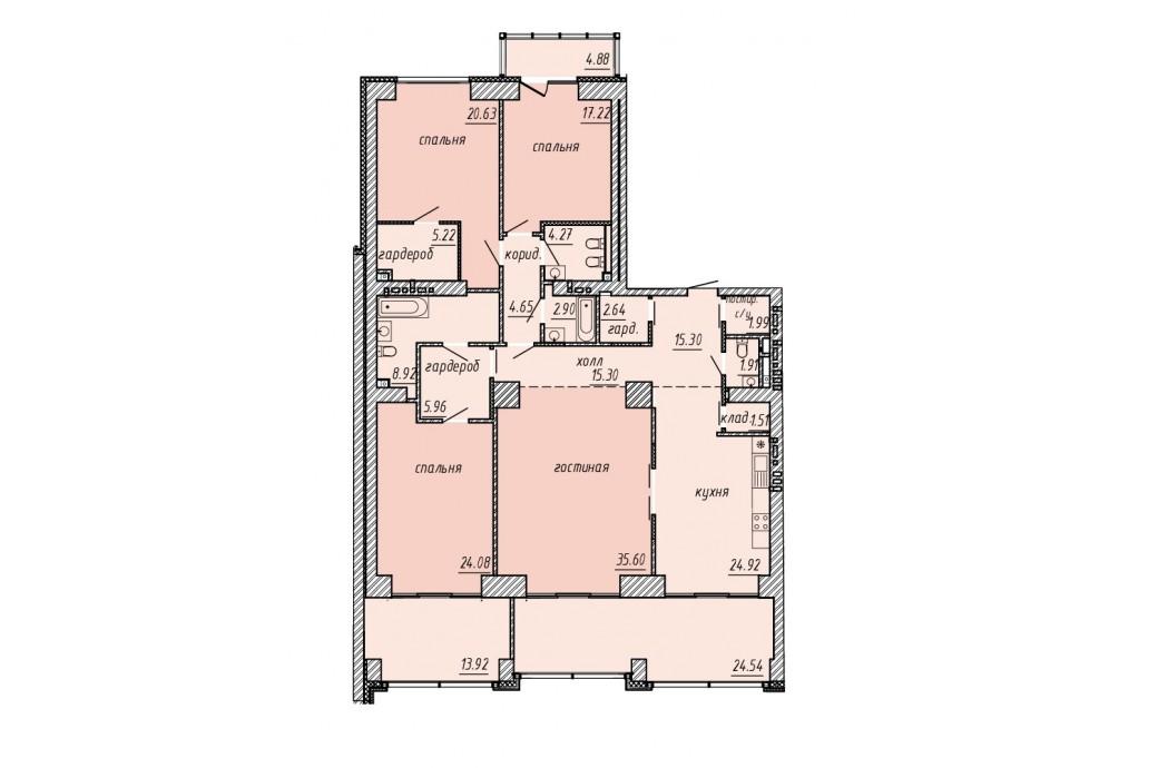"4 комнатная квартира, ул. Челюскинцев, 58 (ЖК ""Макаровский квартал"")"