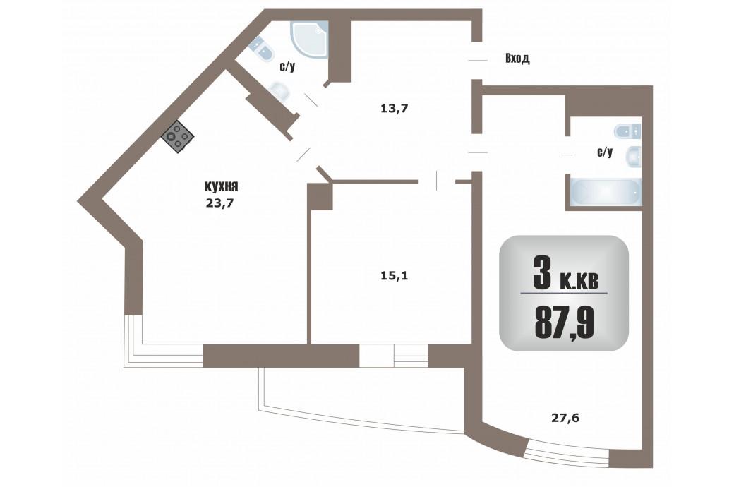 """3 комнатная квартира, ул. Юлиуса Фучика, 1 (ЖК """"Три капитана"""")"""