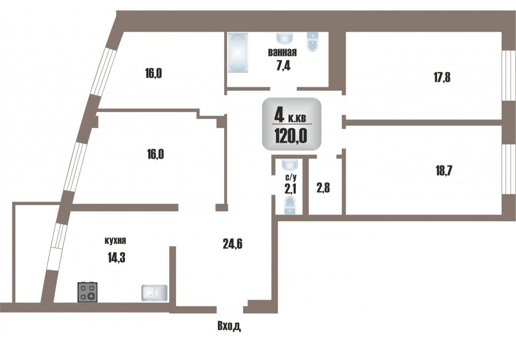 """4 комнатная квартира, ул.Московская, 77 (ЖК """"Москва"""")"""