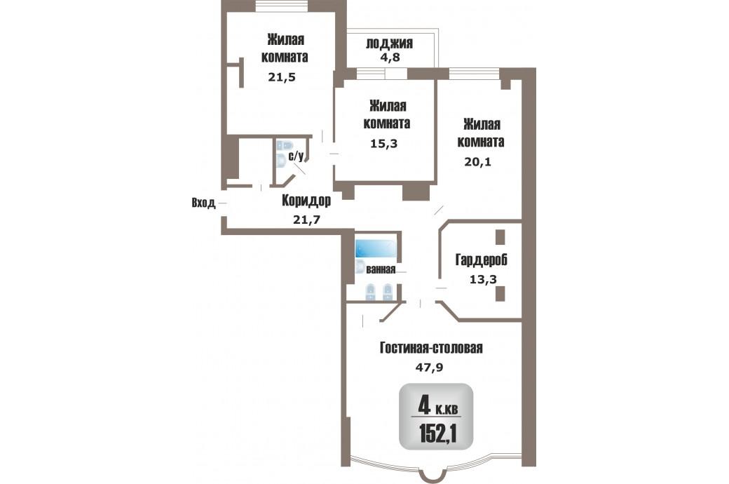 4 комнатная квартира, ул. Николая Никонова, 25