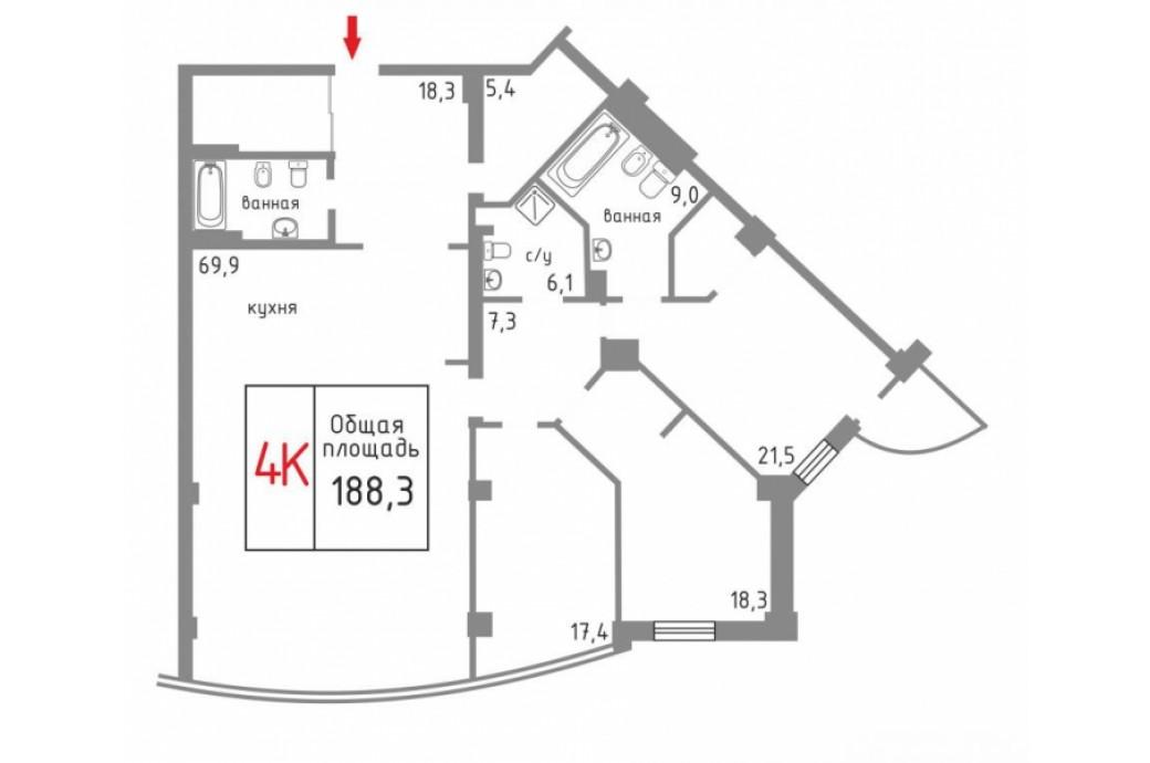 """4 комнатная квартира, ул.Шейнкмана, 121 (ЖК """"Антарес"""")"""