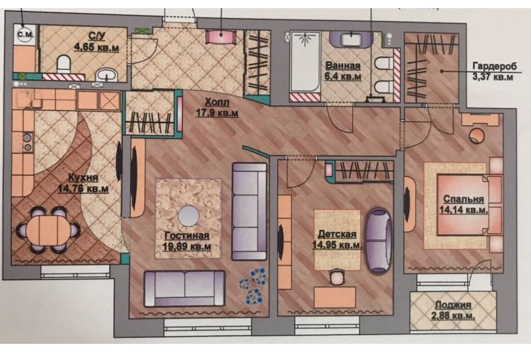 """3 комнатная квартира, ул. Юмашева, 15 (ЖК """"Адмирал"""")"""