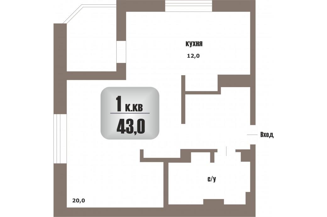 1 комнатная квартира, ул.Чапаева, 23