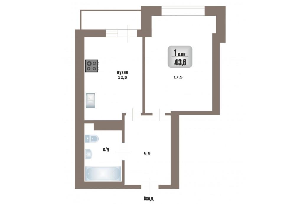 """1 комнатная квартира, ул. Юмашева, 1 (ЖК """"Адмиральский 2"""")"""