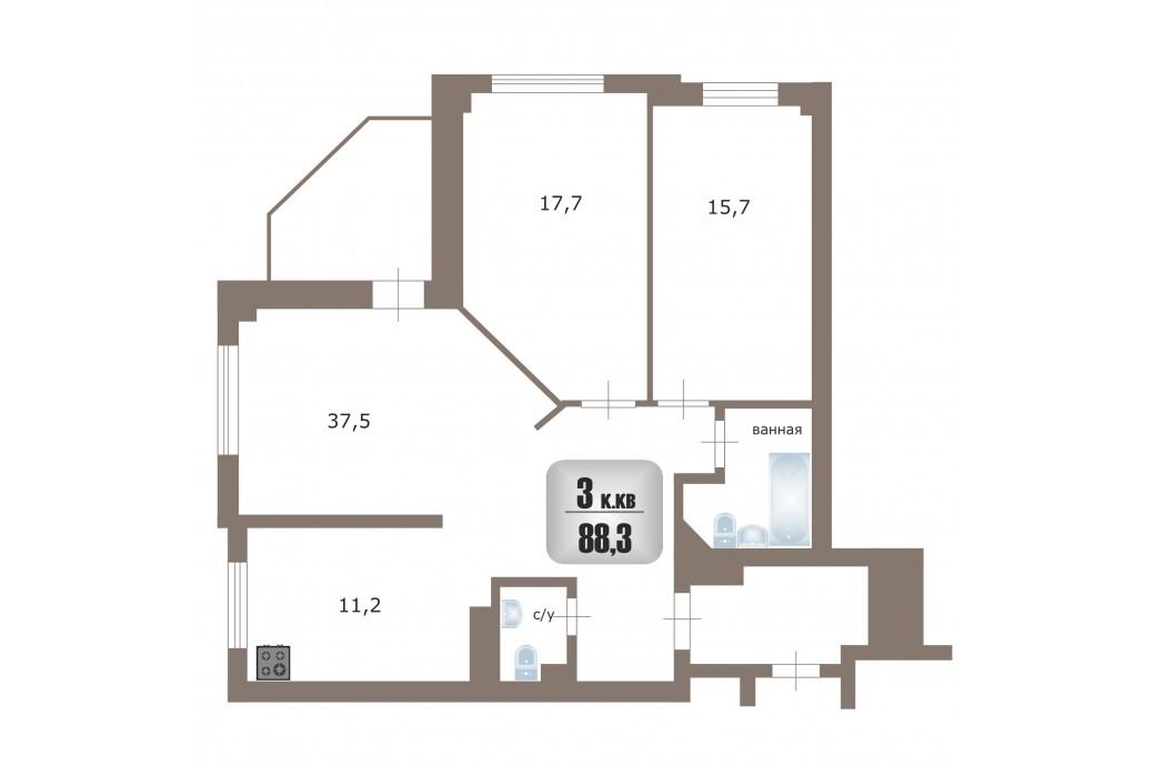 """3 комнатная квартира, ул. Московская, 70 (ЖК """"Гулливер"""")"""