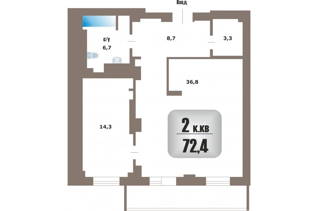 2 комнатная квартира, ул. Белинского, 32